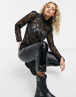 Vero Moda high-neck lace top in black