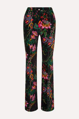 Paco Rabanne Floral-print Cotton-blend Velvet Slim-leg Pants - Black
