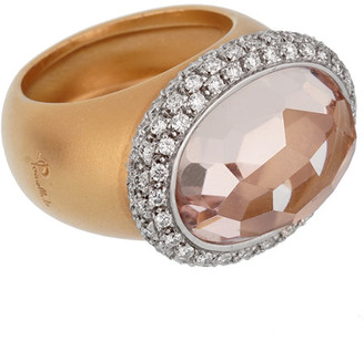 Pomellato 18K 22.10 Grams Rose Gold 14.51 Ct. Tw. Diamond & Morganite Cocktail Ring