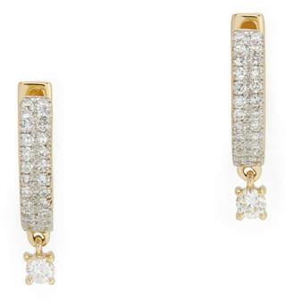 Eriness Diamond Yellow-Gold Huggies with Round Diamond Drop Earring