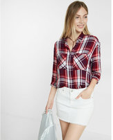 Express pink oversized plaid button-up shirt