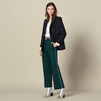 Sandro Wide-Leg Trousers With Tricolour Trim