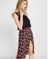 Express printed wrap midi skirt