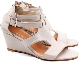 BEIGE Heli Women's Sandals  Cutout Wedge Sandal - Women
