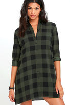 BB Dakota Holly-Anne Green Plaid Shirt Dress