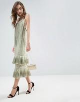 Asos GOLD Double Layered Drop Hem Flapper Midi Dress