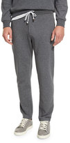 Brunello Cucinelli Cotton-Blend Drawstring Sweatpants, Dark Gray