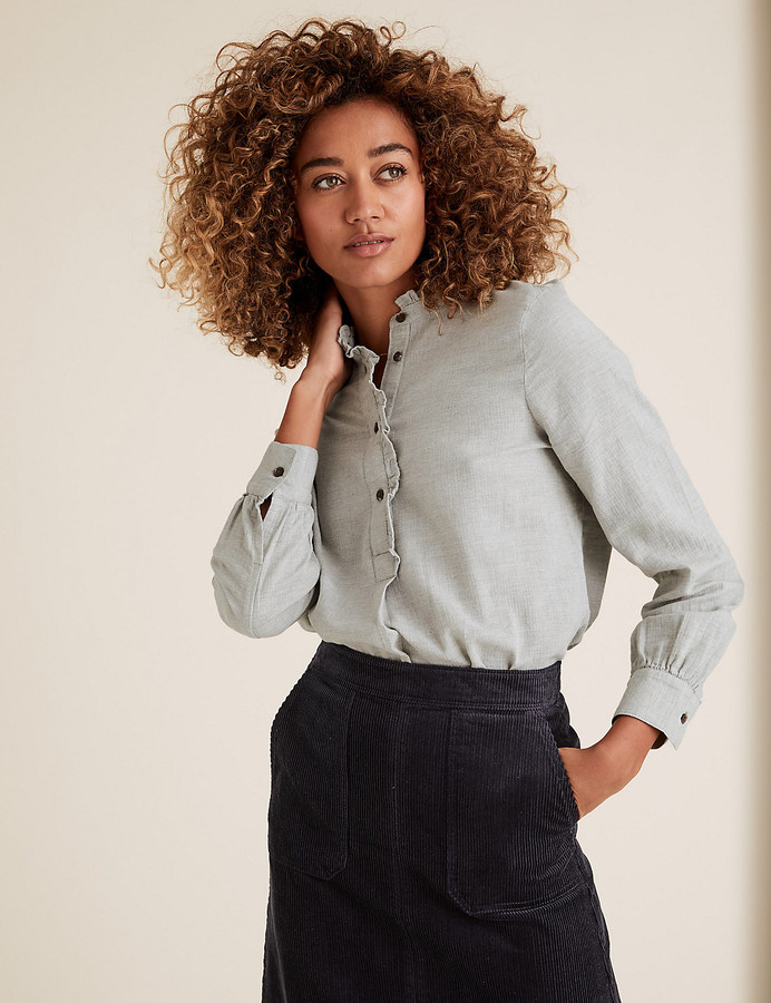 Marks and Spencer Cotton High Neck Frill Detail Tunic