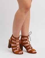 Charlotte Russe Wide Width Caged Lace-Up Sandals