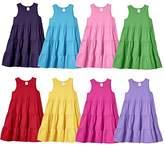 City Threads Big Girls' Super Soft 100% Cotton Tank Sleeve Tiered Summer Dress
