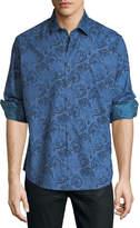 Robert Graham Classic-Fit Paisley Jacquard Sport Shirt, Blue