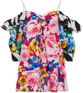 MSGM Cold-shoulder Ruffle-trimmed Gathered Floral-print Cotton-poplin Blouse