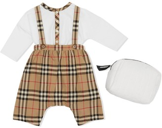 BURBERRY KIDS Nova check dungaree set