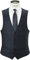 John Lewis Wool Glen Check Tailored Waistcoat, Navy