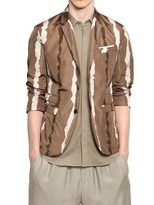 Neil Barrett Bleach Striped Nylon Two Button Jacket