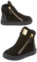 Giuseppe Zanotti Girls' London Laceless Suede High-Top Sneaker, Infant/Toddler