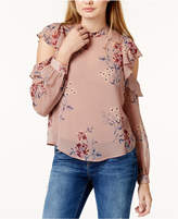 Astr Chantelle Sheer Cold-Shoulder Top