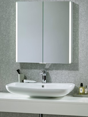 John Lewis & Partners Trace Double Mirrored and Illuminated Bathroom Cabinet