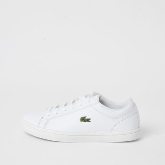 Lacoste River Island Womens White leather lace-up trainers