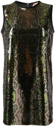 No.21 Sequinned Snakeskin-Effect Shift Dress