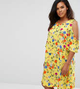 New Look Plus New Look Curve Floral Cold Shoulder Tunic Dress
