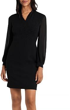 Vince Camuto Sparkle Jersey V Neck Dress
