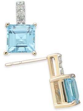 Macy's Rhodolite Garnet (2-9/10 ct. t.w.) & Diamond Accent Drop Earrings in 14k Gold(Also Available in Blue Topaz)