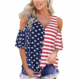 DENGZI Women Stripes Star American Flag T-Shirt Cold Shoulder Button Down Casual Tops Blouse Red