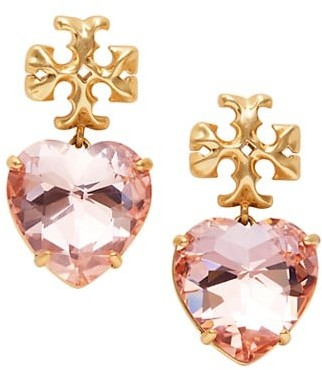 Tory Burch Roxanne Goldtone & Glass Heart Earrings