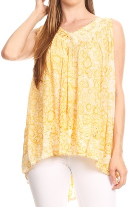 Sakkas 52531 Bohemian Summer Sleeveless Blouse - Mauve - One Size