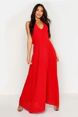 boohoo Woven V Neck Cowl Back Maxi Dress