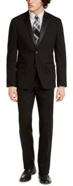 Perry Ellis Men's Slim-Fit Stretch Black Solid Tuxedo