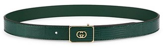 Gucci Lizard Belt With Interlocking G Buckle