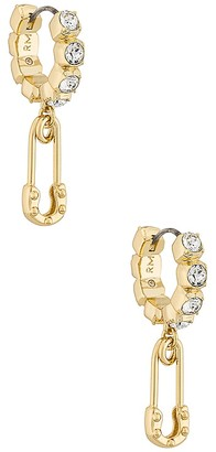 Rebecca Minkoff Safety Pin Pave Huggie Hoop