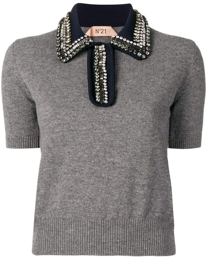 No.21 knitted polo shirt