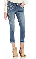 Jessica Simpson Forever Roll-Cuff Skinny-Fit 5-Pocket Embroidered Denim Ankle Jeans