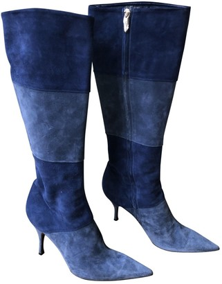 Sergio Rossi Blue Leather Boots