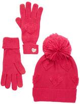 Betsey Johnson Heart Glove & Hat Set