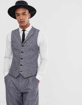 Twisted Tailor super skinny suit vest in tweed with chain-Blue