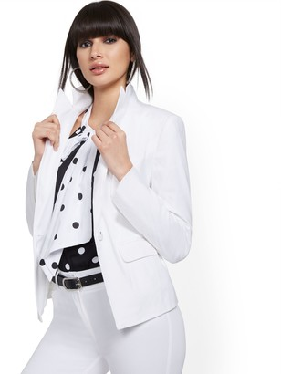 New York & Co. White One-Button Jacket - Linen Blend - 7th Avenue