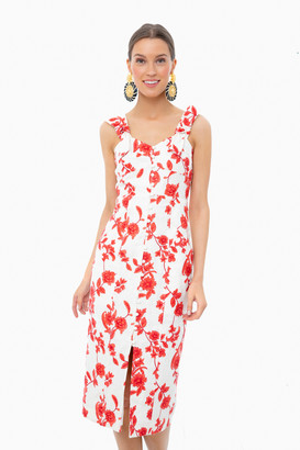 Rebecca Taylor Ivory and Red Coral Sleeveless Scarlet Embroidered Dress
