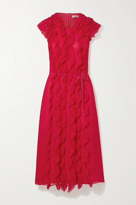 Jason Wu Ruffled Silk-georgette Midi Dress - Pink