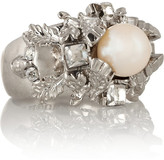 Alexander McQueen Silver-plated, Swarovski crystal and faux pearl ring