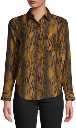Current/Elliott Current Elliott Snakeskin-Print Cotton Silk Shirt