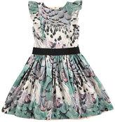 Molo Carey Rooster Feathers A-Line Dress, Aqua Blue, Size 2T-14