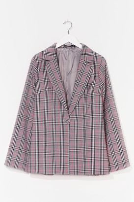 Nasty Gal Womens One Check of a Night Oversized Blazer - Pink - 6, Pink