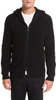 Vince Textured Waffle-Knit Zip-Front Hoodie, Black