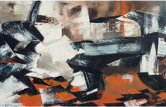 One Kings Lane Vintage Abstract in Ebony & Rust - 1962 - McNaught Fine Art