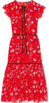 Markus Lupfer Printed Silk-chiffon Midi Dress - Red