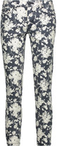 Tory Burch Alexa mid-rise cropped floral-print skinny jeans